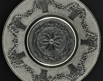 Set of 2 Hard to Find Sandwich Glass Plates - Jenkins Glass - Jenkins' Basket Pattern - 8 Inch Salad Plate