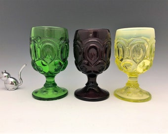 L.G. Wright Moon and Star Water Goblets - Hard to Find Colors - Set of Three