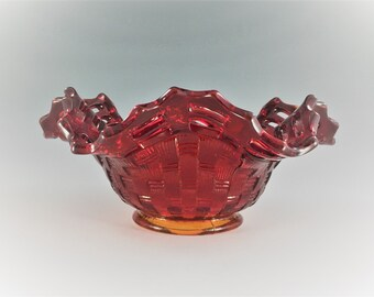 Vintage Fenton Basketweave With Open Edge Ruby (Line #1092) Ruffled Bowl - Ruffled Hat