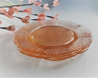 Set of 4 Hard to Find Pink Depression Glass Plates - MacBeth Evans - American Sweetheat Pattern - 8 Inch Salad Plate
