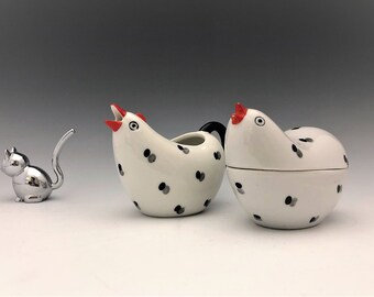 Lefton China Chicken Creamer and Covered Sugar Bowl - Hand Painted