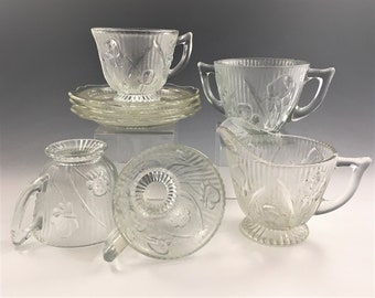 8 Pieces of Jeannette Iris Glass - Iris and Herringbone - Breakfast Set - Creamer and Open Sugar - 3 Cups and Saucers