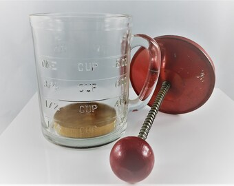 Mid Century Hazel Atlas Glass Chopper and Measuring Cup - Vintage Kitchen Decor