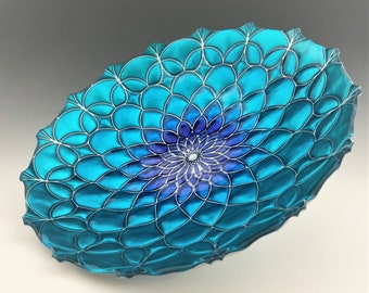 Contemporary Turkish Teal and Blue Pattern Bowl - Centerpiece Bowl - Peacock Dragonfly or Chrysanthemum