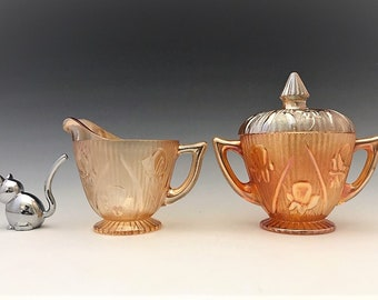 Jeannette Iris Iridescent Breakfast Set - Covered Sugar Bowl and Cream Pitcher