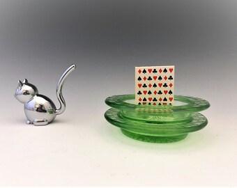 Set of Two Hazel Atlas Checkerboard Ashtrays - Green Depression Glass - Glowing Uranium Glass Ashtrays