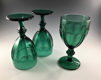 Set of 3 Vintage Libbey Gibraltar Duratuff Glasses - Juniper Glass Goblets - Teal Green Water Goblets