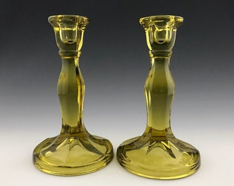 Set of 2 Cambridge 2862 Candlestick Holders - Topaz Glass Dark Chasers - Elegant Depression Era Glass