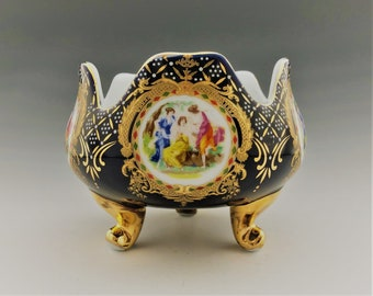 Porcelain Three Footed Bowl - Limoges Style - Victorian Women - Midnight Blue and Gold - Three Graces