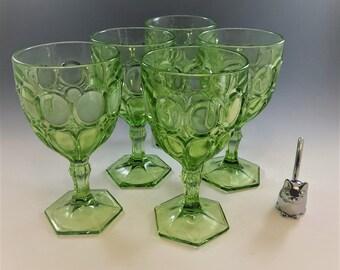 Set of 5 Fostoria Moonstone (#2882) Green Water Goblets