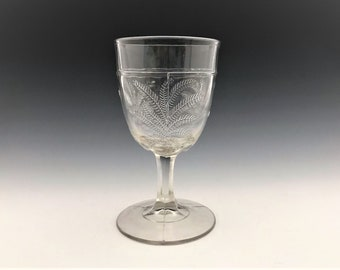 Hard to Find EAPG Goblet - Unknown Maker - AKA Garden Fern - C. 1870's - Early American Pattern Glass