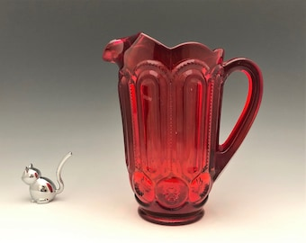 L.E. Smith Moon and Star 2 1/2 Pint Pitcher (6228) - Amberina Pitcher - Ruby Red PItcher
