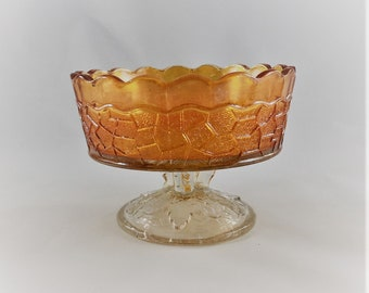 Vintage Dugan Glass -  Maple Leaf Pattern - Small Berry Bowl - Classic Carnival Glass - Iridescent Glass