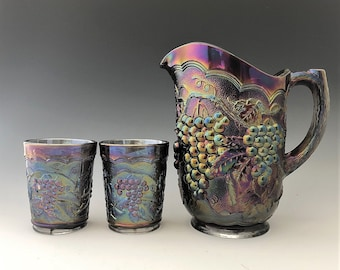 Imperial Glass Water Set - Imperial Grape Pattern in Peacock (Smoke) - Amethyst Pitcher and Six Tumblers - Heavy Grape
