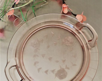 Pink Depression Glass Platter - Vintage Serving Dish - Two-Handled Server - Etched Roses