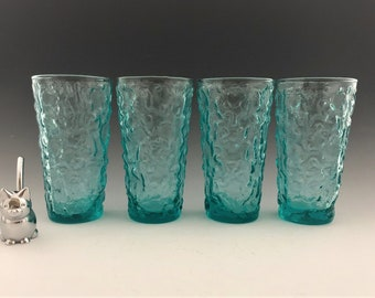 Anchor Hocking Milano Aqua 12 Ounce Flat Tumblers - Set of 4 - Hard to Find - Mid-Century Drinkware