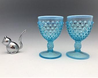Fenton Blue Opalescent Hobnail Goblets - Set of 2 Wine Glasses