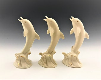 Collection of 3 Lenox Dolphin Figurines - Porcelain Dolphins