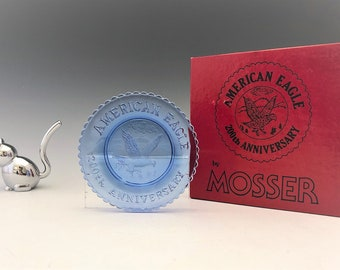 Vintage Mosser Glass American Eagle 200th Anniversary Cup Plate - Blue Cup Plate - Original Box - PCPCA