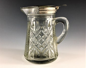 Mid Century Glass Syrup Pitcher - Metal Lid - Pineapple Pattern - Circa 1940's - 1950's