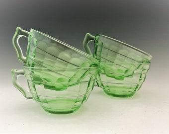 Hocking Glass Block Optic Pattern - Set of 4 Cups - Green Depression Glass - Glowing Uranium Glass