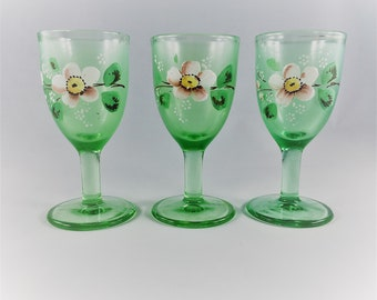 Set of 3 Vintage Green Glass Cordials - Hand Painted Flower Motif - Small Liqueur Glasses