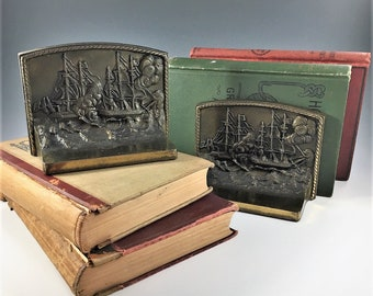 Vintage Bradley and Hubbard Bookends - Cast Metal Bookends - Tall Ships - USS Constitution - Old Ironsides - Signed Bookends