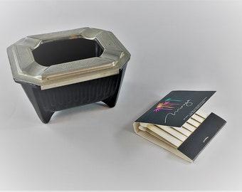 Vintage Black Glass Ashtray - Sliding Chase Brass Top - Black Amethyst Glass