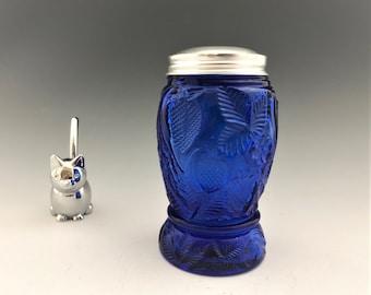 Vintage Cobalt Blue Shaker - Strawberry Pattern - Metal Lid - Blue Glass Sugar Shaker