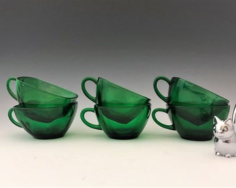 Anchor Hocking Charm Forest Green - Set of 6 Cups - Coffee or Tea Cups - Emerald Green Mid Century Glass
