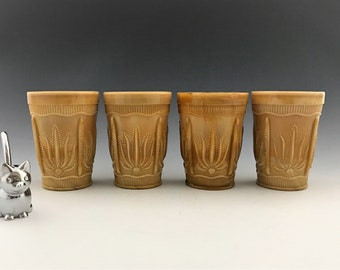 Four Cactus Pattern Tumblers - Chocolate Glass - Slag Glass Tumblers - St. Clair Glass - Reproduction Greentown Tumblers - (circa 1960-70s)
