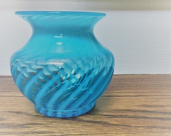 Vintage Fenton Vase - Blue Opalescent Spiral Optic - Handmade Vase - Circa 1939 - Art Glass Vase