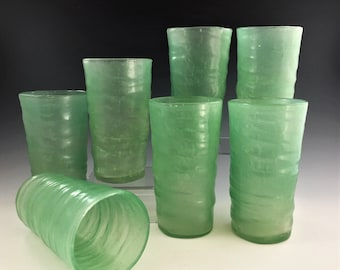 Consolidated Art Glass - Catalonian Pattern - Old Spanish - 12 Ounce Tumbler - Jade Green - Hard to Find - Depression Era Glass