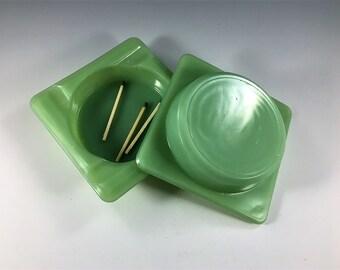 Set of 2 Jadeite Ashtrays - Vintage Green Glass Ashtrays - Square Ashtrays