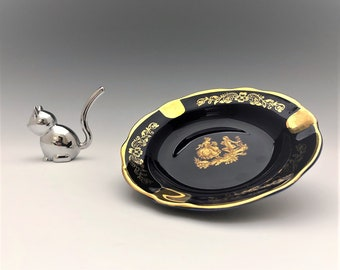 Limoges Royal Blue and Gold Ashtray - 4 3/4 Inch Diameter