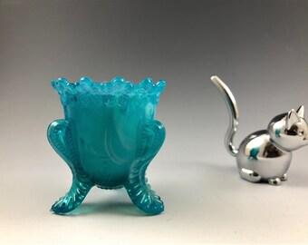 Boyd Glass Toothpick Holder - Art Glass - Blue Slag Glass - Degenhart
