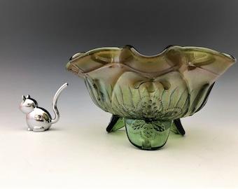 Northwood Meander Pattern - Interior Sunflower Pattern - Green Carnival Glass Spatula Footed Bowl - Alaskan Finish