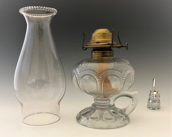 Imperial Glass Zipper Loop Oil Lamp - Burner and Chimney Included