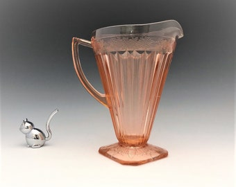 Jeannette Adam 32 Ounce Pitcher - Pink Depression Glass Pitcher - Square Base - 1932-34