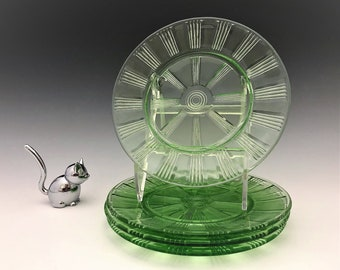 4 Uranium Glass Plates - Wagon Wheel Pattern - Green Depression Glass - Glowing Glass Plates