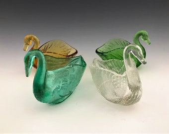 Collection of 4 Glass Swans - Open Salts - Colorful Bevy of Swans - Figural Glass