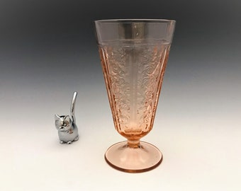 Pink Depression Glass Bowl - Federal Glass - Sharon or Cabbage Rose Pattern - Footed Tumbler - Hard to Find