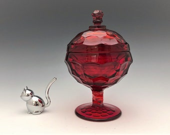 Viking Glass #7805 Ruby Covered Candy Dish