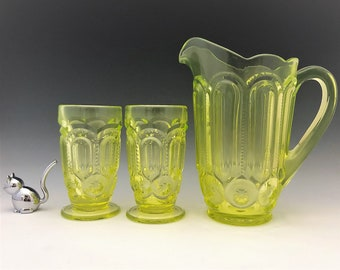 Weishar Moon and Star Vaseline Water Set - Full Size Pitcher and Six Footed Tumblers - Hard to Find