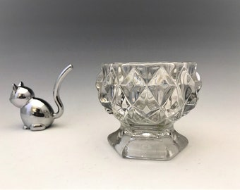 Early American Pattern Glass Master Salt - Flattened Sawtooth Pattern - Flint Glass Salt - c. 1850's