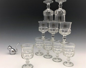 Anchor Hocking King's Crown (No. 155) - Set of 10 Small Cordials or Wine Glasses