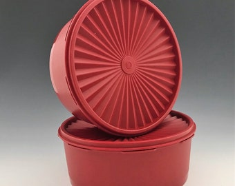 Set of Two Vintage Tupperware Servalier Storage Containers - Numbers 1204-29 - Cherry Red