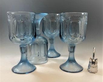 Set of 4 Fostoria Woodland Blue Water Goblets - New in Original Box