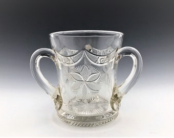 EAPG Spooner - Unique Three-Handled Glass in Unidentified Pattern - Early American Pattern Glass - Circa 1880+