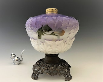 Antique Purple Glass Oil Lamp - Dithridge and Company - Feathered Dahlia - Early American Pattern Glass Lamp